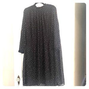 Black polka dot midi dress
